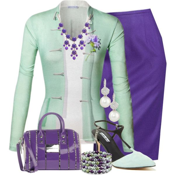 A fashion look from February 2015 featuring green top, pencil skirt and slingback pumps. Browse and shop related looks.