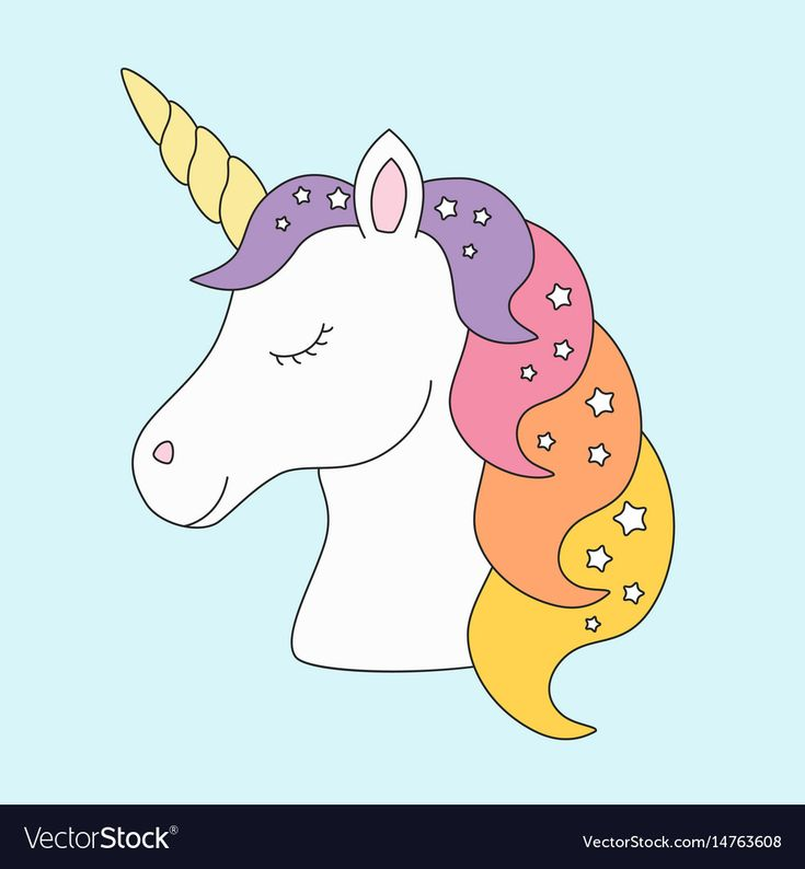 Unicorn head sleeping cute in pastel colors with Vector ...
