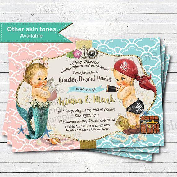Gender reveal invitation. Vintage pirate mermaid coed couple baby shower nautical gender reveal. Turquoise pink digita invite B216