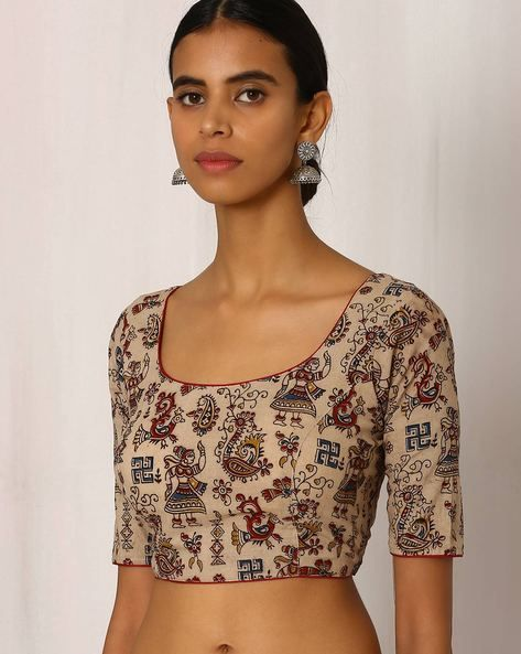 Buy Beige Indie Picks Kalamkari Handblock Print Cotton Blouse with Ikat