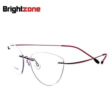 12d66c21b9 2017 New Fashion Cat Eye Rimless Glasses Myopia Memory Titanium Women Men  Eyeglasses Pilot Optical Frame
