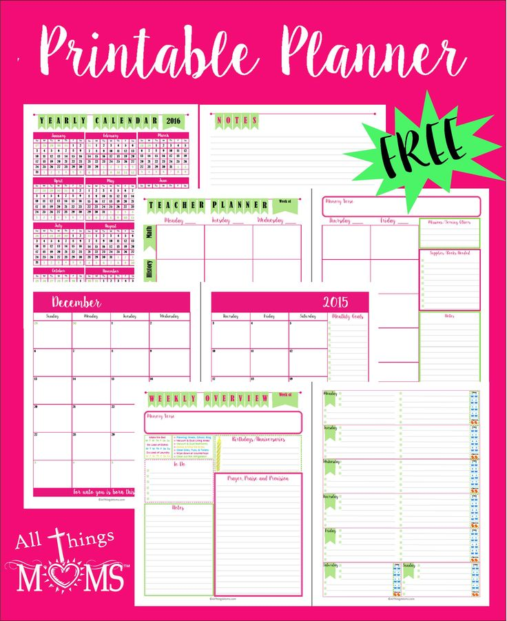 FREE Printable Planner, Including Homeschool Planner