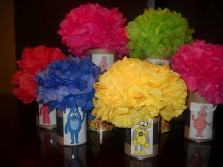 The Yo Gabba Gaba centerpieces we made for Millie's party...