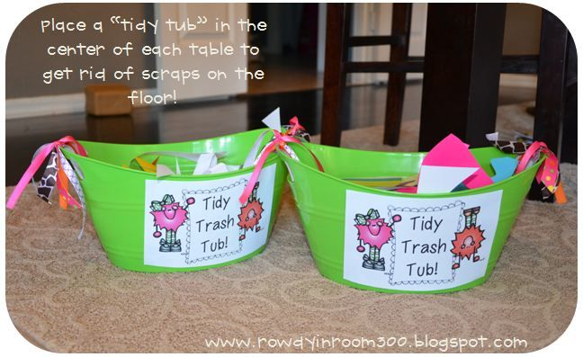 """BRILLIANT! When cutting, students put trash in the """"tidy tub"""" then at the end of the activity one student empties the tidy tub in the big trash can. No more scrap paper all over the floor and no more 20+ kids running to the trash can!"""