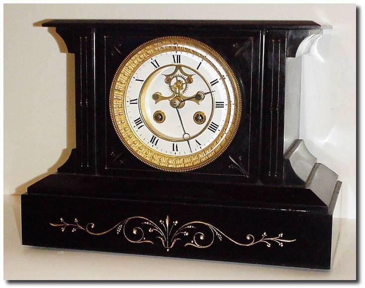 antique clocks | Antique French or France Shelf Black Mantel Clock