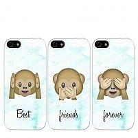 Emoji aapjes best friends hoesjes (3-delig)