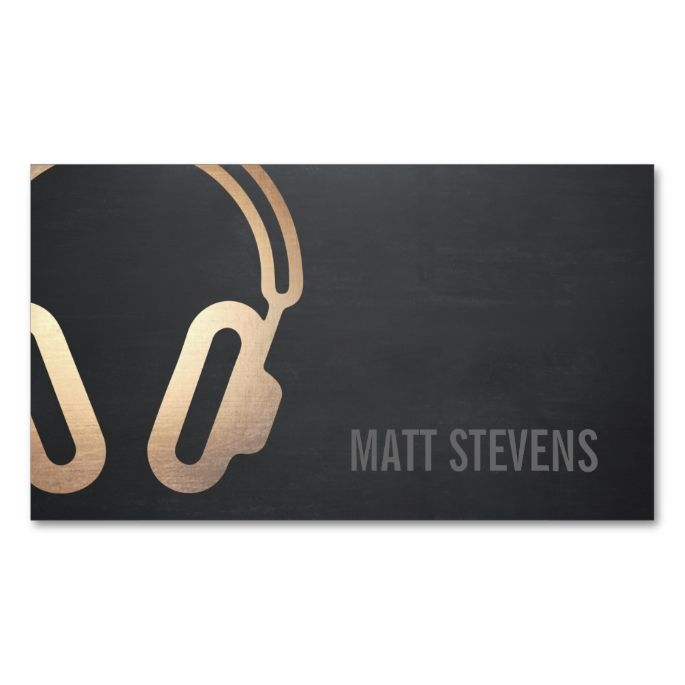 Cool Bold DJ Gold Headphones Black Music Double-Sided Standard Business Cards (Pack Of 100). This great business card design is available for customization. All text style, colors, sizes can be modified to fit your needs. Just click the image to learn more!