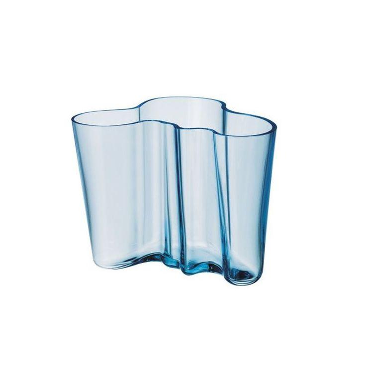 Iittala Aalto Savoy hand-blown glass vase in dove blue.