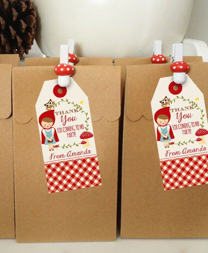 Little Red Riding Hood Favor Tags - Woodland Favor Tags - Instant Download and Edit File at home with Adobe Reader by SunshineParties on Etsy https://www.etsy.com/listing/238995265/little-red-riding-hood-favor-tags
