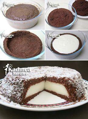 Einfaches Kuchenrezept mit Vanillesoße-Füllung, wie man macht