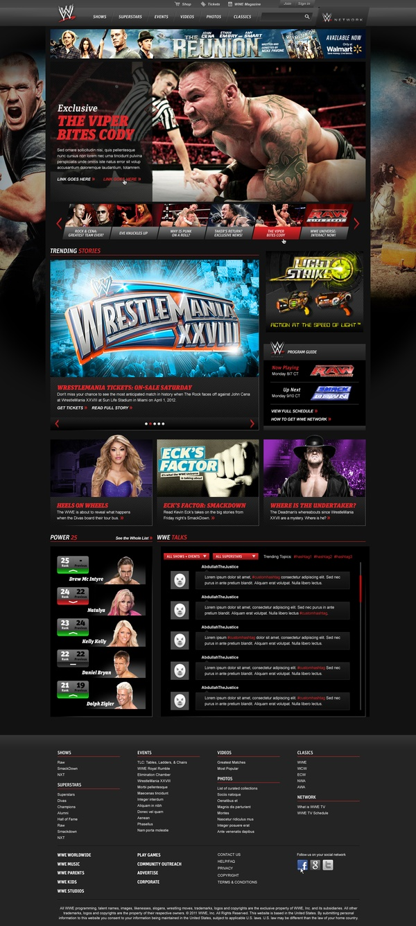 WWE Website Redesign / Christian Waitzinger / #dark #wwe #sport #fight #fighters