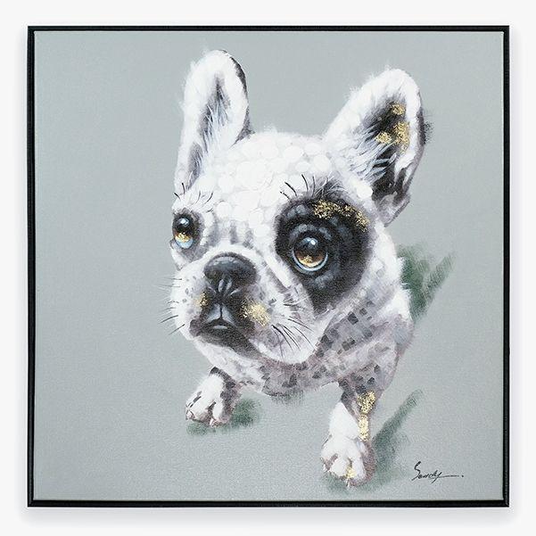 Quadro Bulldog Cinza 70 x 70 cm | A Loja do Gato Preto | #alojadogatopreto | #shoponline | referência 58868811