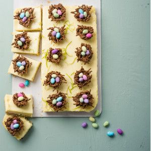 Lemony Cheesecake Birds' Nests Slices #Easter #Bakes #Chocolate #SouthAfrica