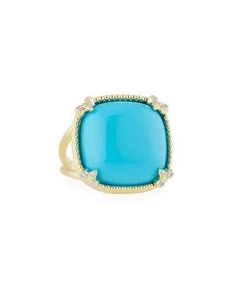 Shop Now - >  https://api.shopstyle.com/action/apiVisitRetailer?id=631728028&pid=uid6996-25233114-59 JudeFrances Jewelry Turquoise Cushion Fleur Cocktail Ring w/ Diamonds  ...
