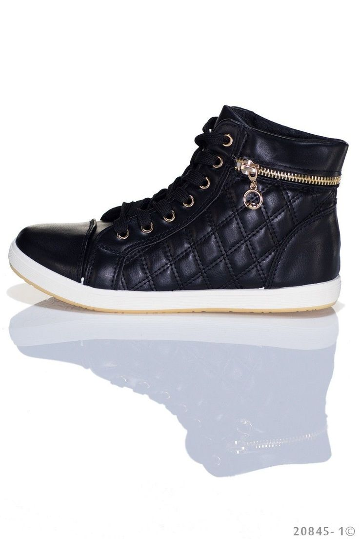 Coole Damen-Sneaker von Best Emilie in der Farbe schwarz mit goldfarbenen  Akzenten. #