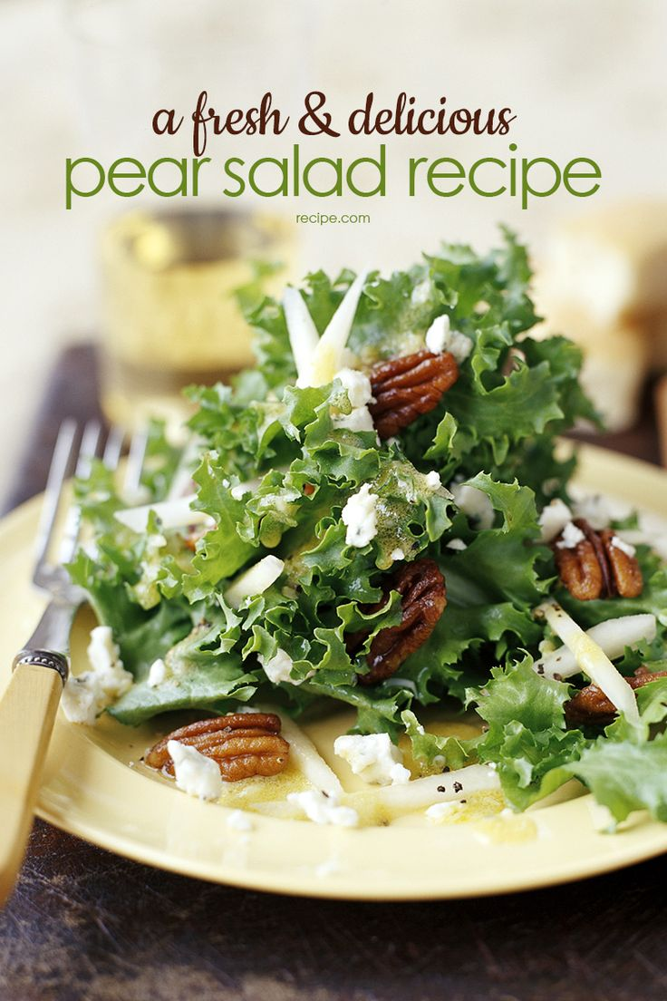 Use slightly firm pears for this super yummy salad recipe that's perfect for a quick and easy lunch.