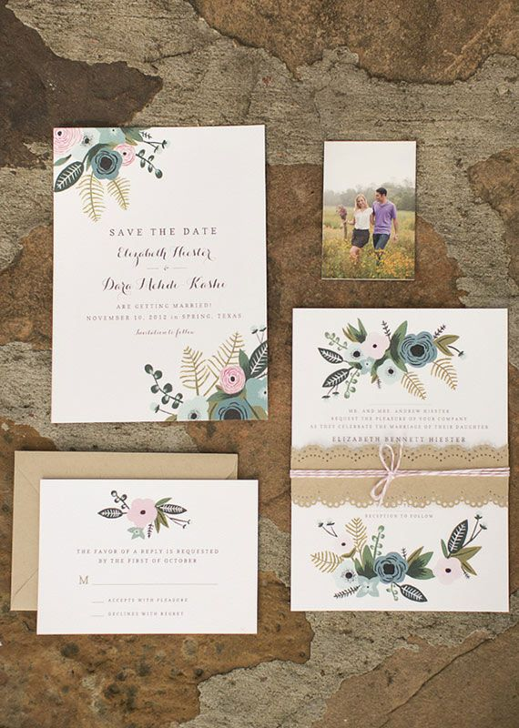 Illustrated Fall wedding invitations | photos by Mustard Seed Photography | 100…
