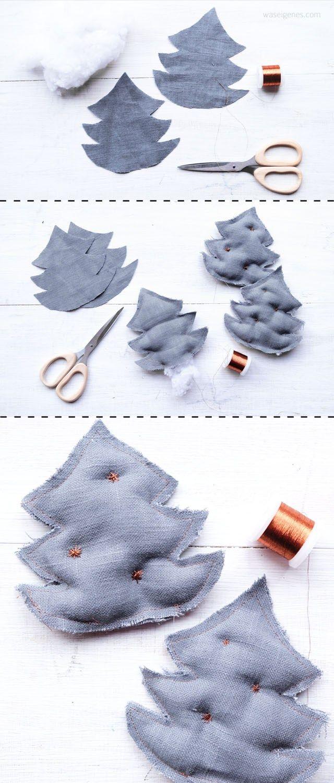 Weihnachtsdeko: weiss, grau und kupfer | selbst genähte Weihnachtsbäume aus grauem Leinen und Kupfergarn | DIY Nähanleitung | waseigenes.com DIY Blog