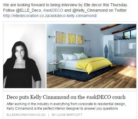 Interview we did this week.  www.cinnamond-interiors.co.za
