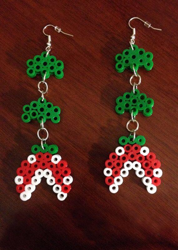 Red Piranha Earring Set  Super Mario perler beads by EBPerler