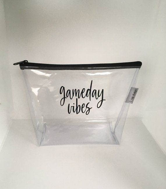 Travel Small Large Cosmetic Bag Clear Vinyl Vacay Gameday Beach Monogram Zipper Makeup Wet Bag Pouch Accessory Large Cosmetic Bag Monogrammed Makeup Bags Bags