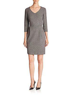 Peserico Double Cotton Jersey Micro-Pattern V-Neck Dress<br>