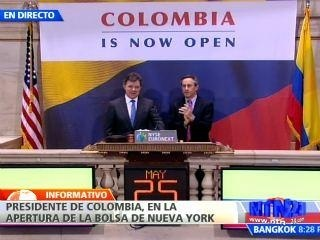 President Santos opens the Stock Market in Wall Street. May 2012.