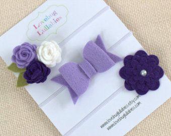 Purple Heart Headband & Lavender Bow Headband by LullabyBlossoms