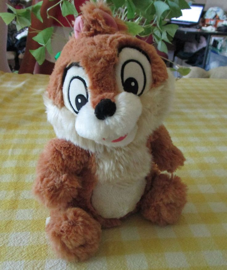 """New Chip & Dale Chipmunk Plush """"Chip"""" 9"""" Disney Store Exclusive Furry Shaggy NWT #DisneyStore"""