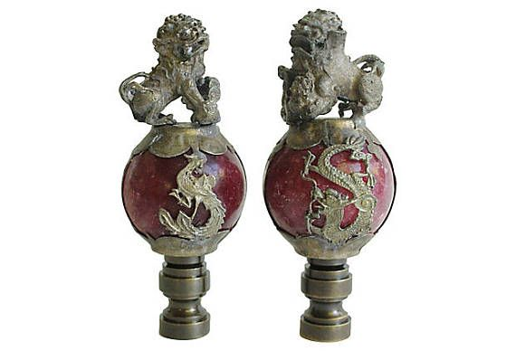 Chinese Foo Dog Lamp Finials on Antiqued Brass Tone Bases - A Matching Pair