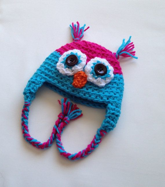 $15.00 - Baby girl fuchsia pink and sky blue crochet owl beanie hat, size Newborn 0-3 Months or 3-6 Months. This is my most popular style of hat. Owl hats are so trendy, with their big eyes and cute beak! It's getting cold, so why not keep your baby warm in style? Also makes a great gift!!