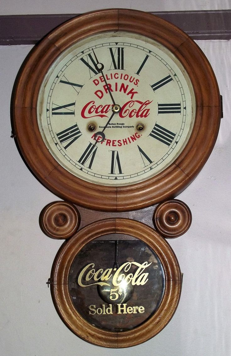 """Rare Coca-Cola Advertiser Clock in an """"Ionic"""" Model Case with Time & Strike Movement by E. Ingraham Clock Co. circa 1915"""