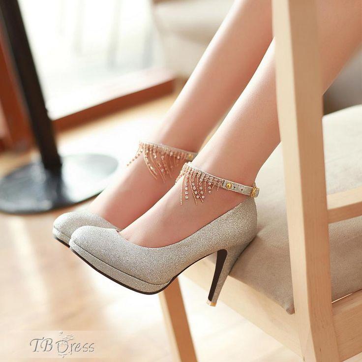 Silver Attractive Stiletto Heels Closed Toe Women Shoes
