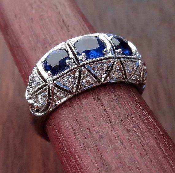 Blue Sapphire Diamond Platinum Art Deco Antique by DeAguiarDesigns