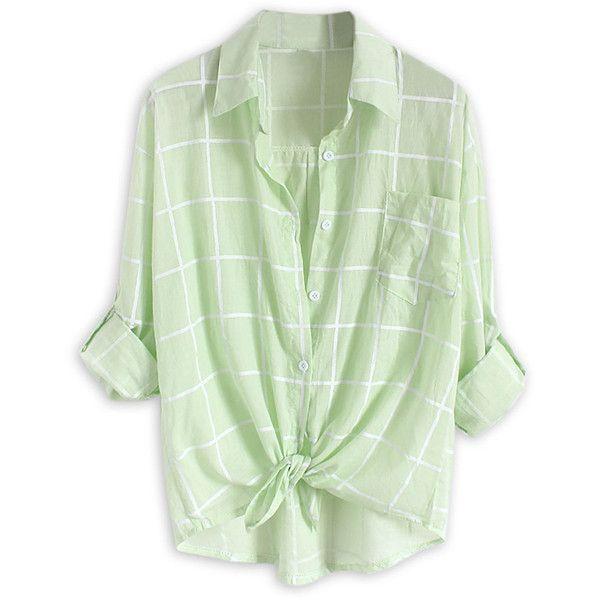 Choies Light Green Plaid Print Roll Up Sleeve Semi-sheer Shirt (€16) ❤ liked on Polyvore featuring tops, shirts, blouses, green, light green shirt, tartan plaid shirt, roll up shirt, green top and green shirt