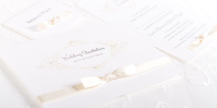 Nouveau Handmade Wedding Invitation Design - ivory border and ribbon