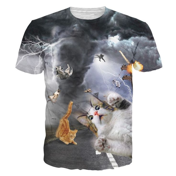 3D Allover Graphic Print Cat Tshirts Click here for our Cat Tshirts Collection Collar: O-Neck Sleeve Length: Short