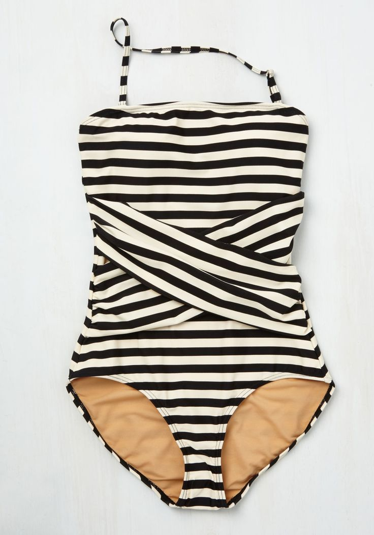 Down for a Dip One-Piece Swimsuit in Black and White. Alongside all the necessities in your carryall, you save a compartment for this striped swimsuit!  #modcloth