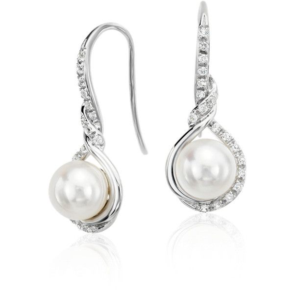 Blue Nile Freshwater Cultured Pearl and White Sapphire Drop Earrings ($345) ❤ liked on Polyvore featuring jewelry, earrings, pave earrings, blue nile earrings, cultured pearl earrings, blue nile jewelry and drop earrings