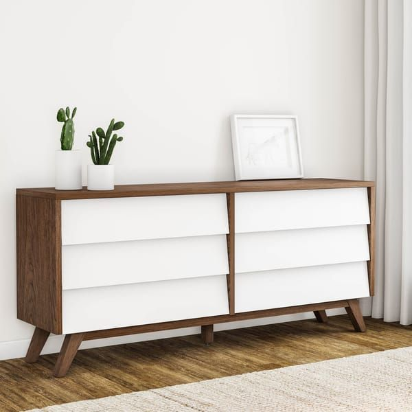 Mid Century White And Brown Dresser By Baxton Studio Brown Dresser White And Brown Bedroom White Bedroom Furniture