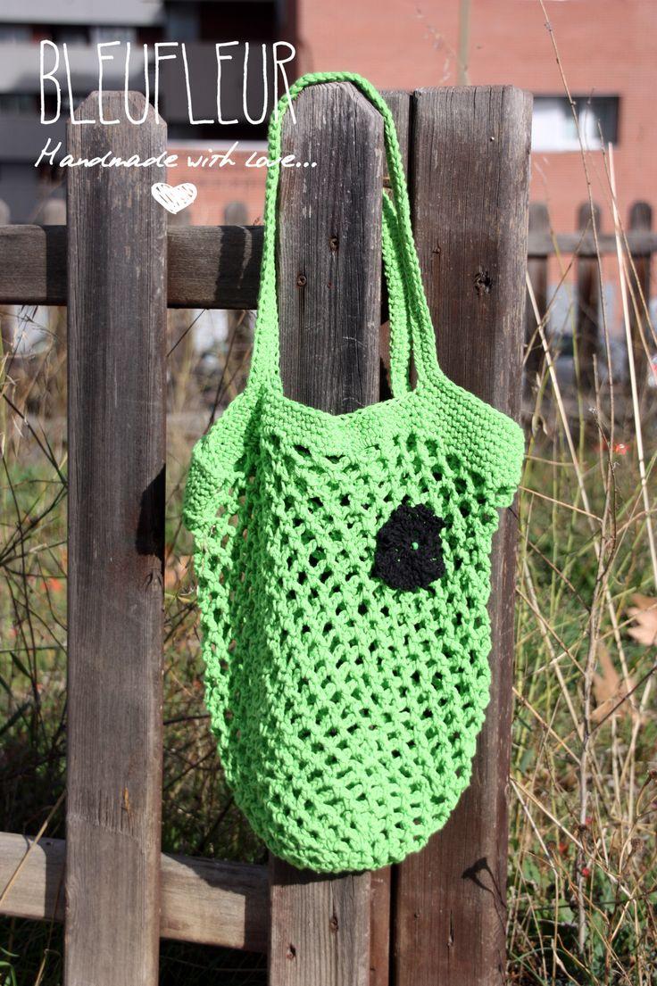 Bolsa de red, tejida con cuerda de algodón