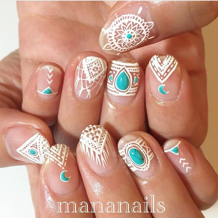 Boho Nail art @naildecorvideos                                                                                                                                                                                 More