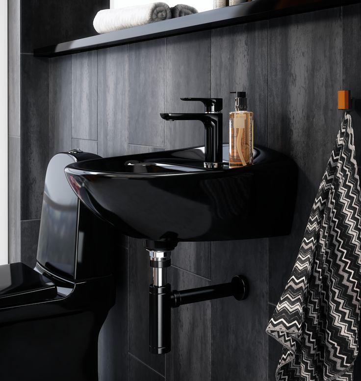 Tvättställsblandare Estetic i svart utförande.