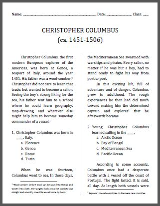 christopher columbus workbook for grades 4 6 free to print pdf file social studies. Black Bedroom Furniture Sets. Home Design Ideas