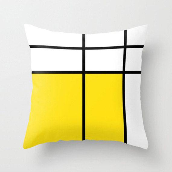 """mondrian, 3, yellow, cushions, pillows, decorative pillows. 16"""" x 16"""" (40 x 40 cm), 18"""" x 18"""" (45 x 45 cm) or 20"""" x 20"""" (50 x 50 cm)"""