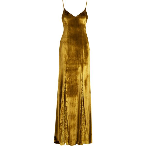 Galvan V-neck lace-panelled velvet gown ($2,495) ❤ liked on Polyvore featuring dresses, gowns, long dress, yellow gold, brown evening dress, v neck cocktail dress, evening dresses, long dresses and v neck evening gown