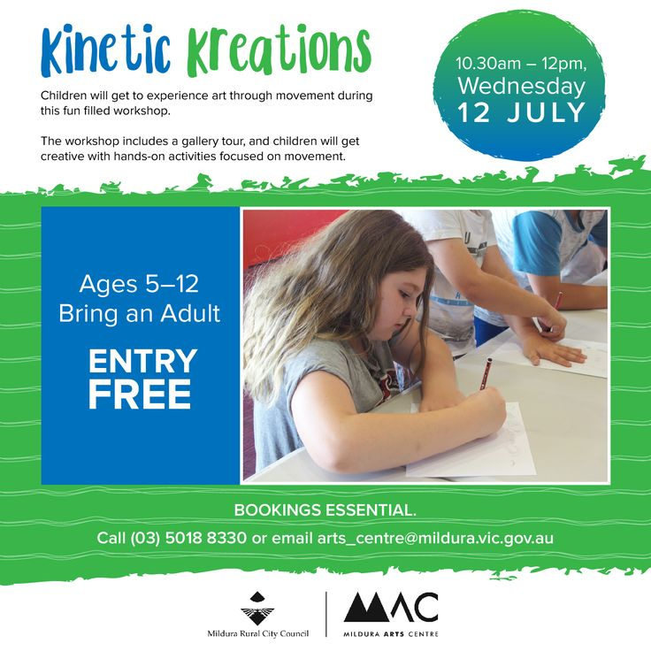 Fun, free workshop happening at Mildura Arts Centre tomorrow - Kinetic Creations. Suitable for 5-12 yr olds, bring an adult :)