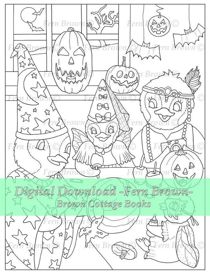 Halloween Pumpkins Penguins Adult Coloring Page Printable
