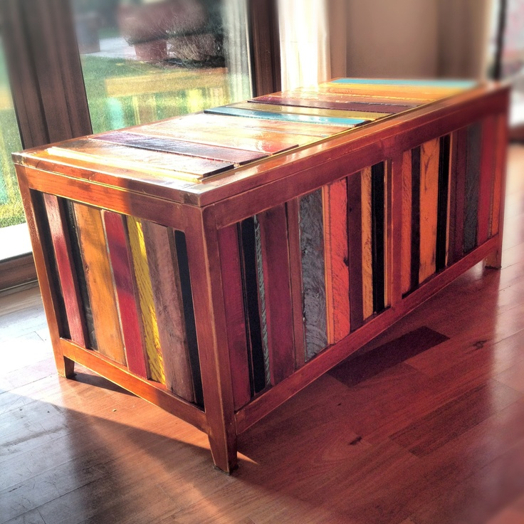 Recycled wood coffer