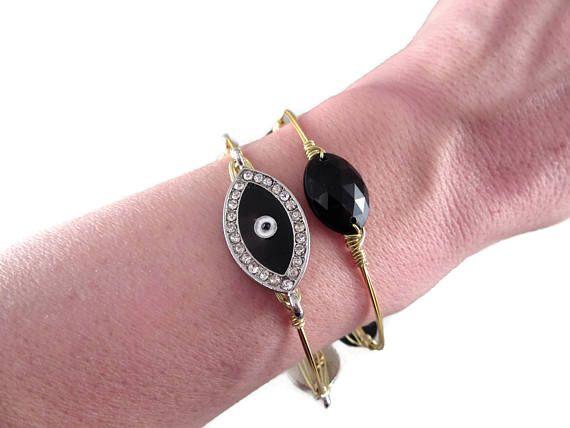 Greek Jewelry Gold Stacking Bracelets Wire Wrapped Bangle Greek Evil Eye Black Gold bangles Black Evil Eye jewelry free shipping by SecretStories